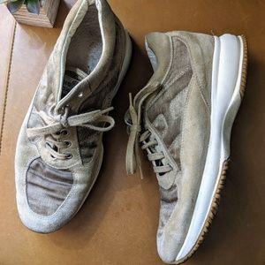 HOGAN beige taupe suede platform sneakers